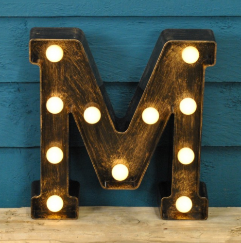 Letter M- Battery Operated Lumiere